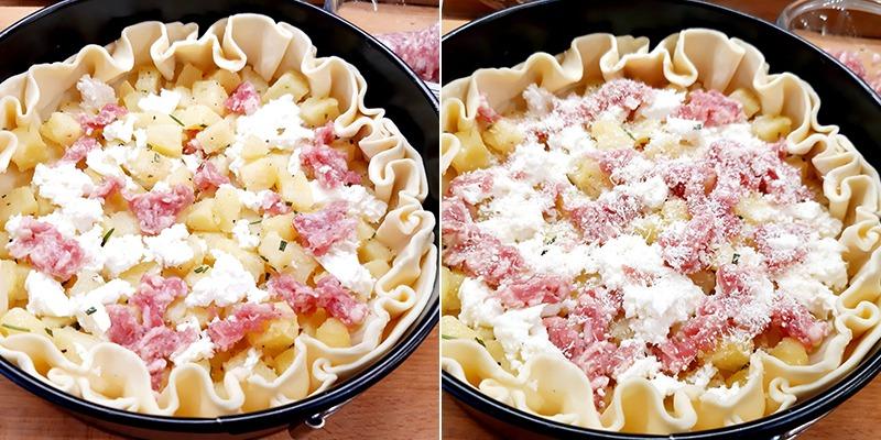 rustico di sfoglia con patate salsiccia e mozzarella