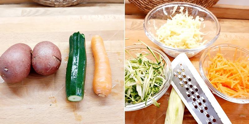pizzette rosticciate di patate zucchine e carote