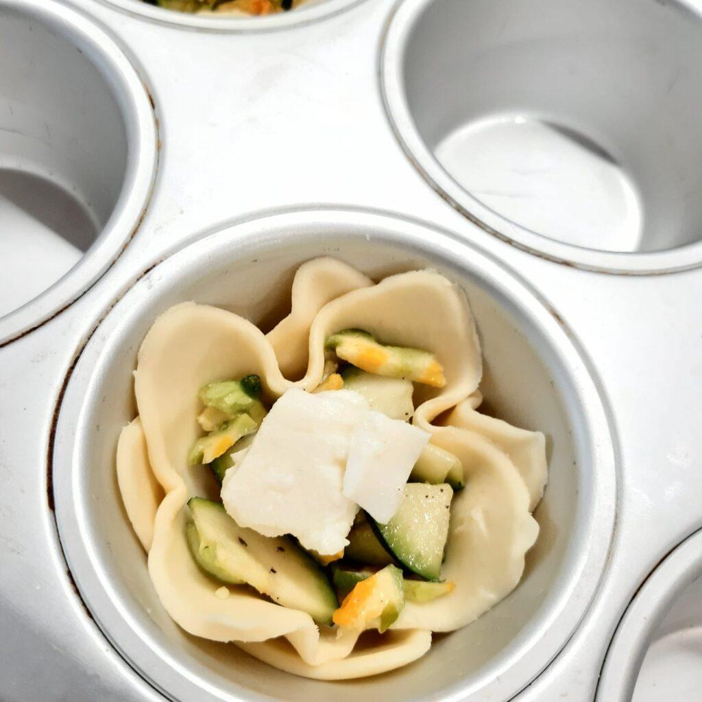 cestini di sfoglia con zucchine e fiori di zucca