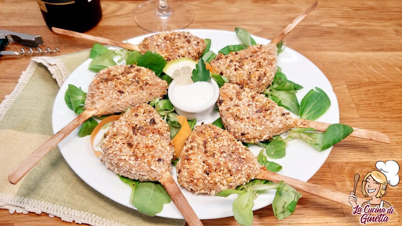 scottadito vegetariano con panatura di mandorle e pistacchi