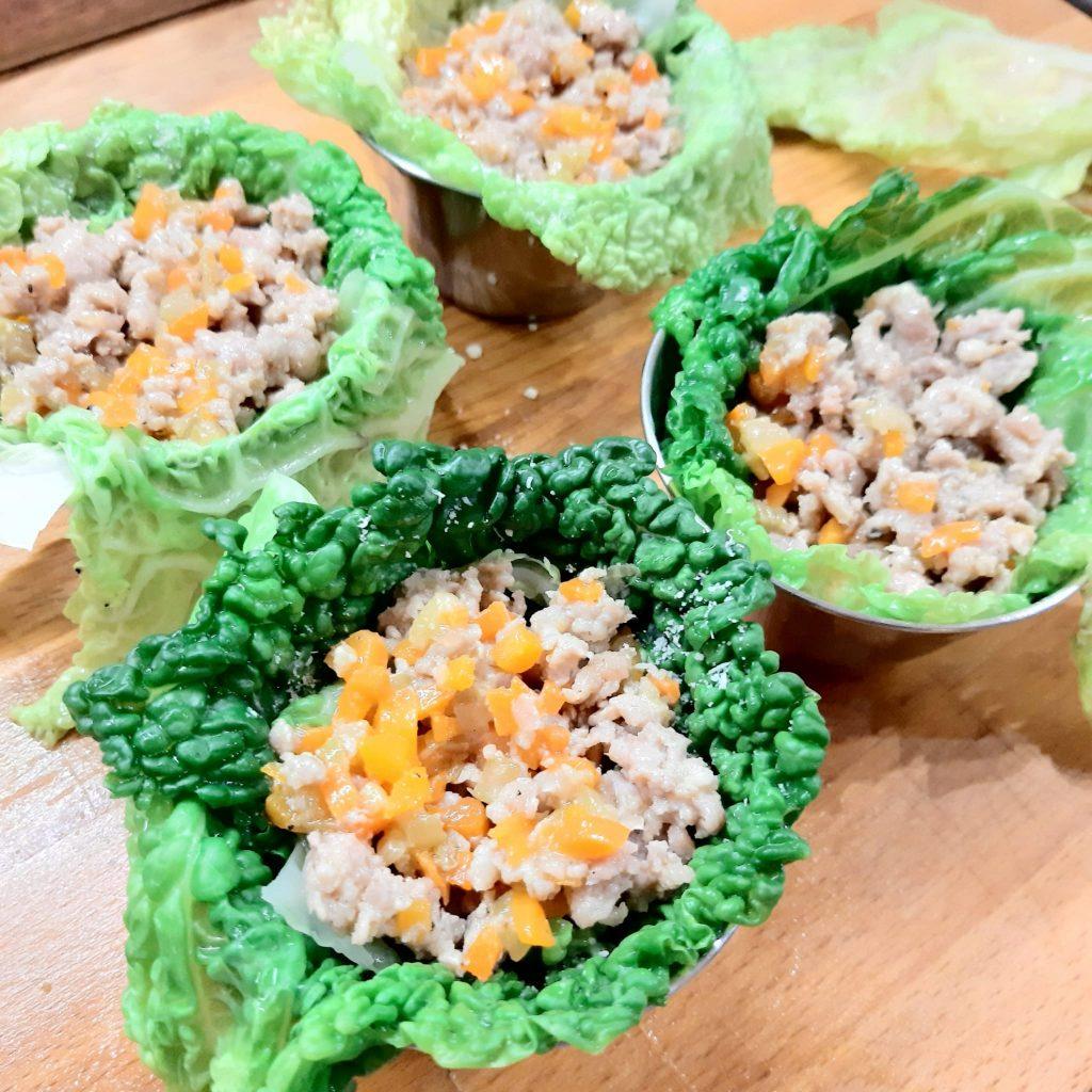 sformatini di verza e salsiccia su crema di zucca